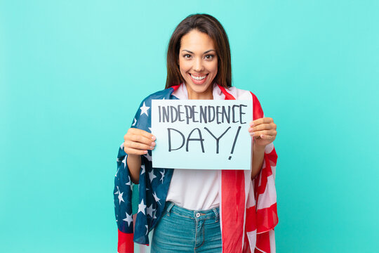 young hispanic woman independence day concept