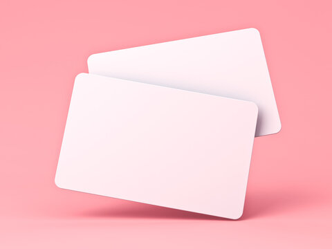Blank white business cards isolated on pink pastel color background with shadow minimal concept 3D rendering