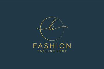 Obraz initial LI Feminine logo beauty monogram and elegant logo design, handwriting logo of initial signature, wedding, fashion, floral and botanical with creative template. - fototapety do salonu