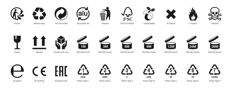 Packaging icons, Recycling symbols, standard signs, certification mark black set : Triman, Mobius, Green Dot, Tidyman, PAO, Alu, CE, Plastic and more. Isolated black vector marks on white background.