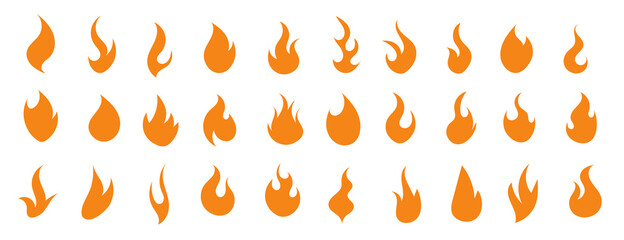 Fire yellow orange icons set for design.  Flame in flat style. Fire symbol. Burning hot flame.