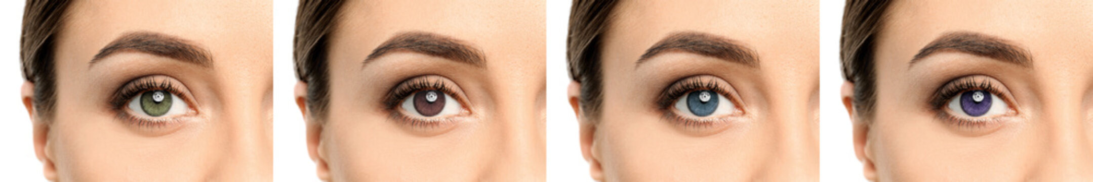 Collage with photos of woman wearing different color contact lenses, closeup. Banner design