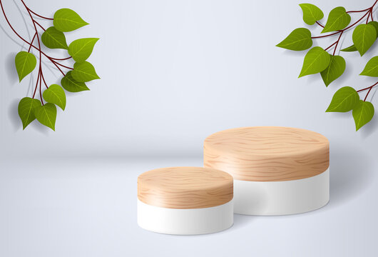 White wooden podium on a white background with leaves. product presentation, mockup, cosmetic product display, pedestal or platform. 3d vector illustration