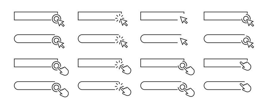 Search bar icon set. Vector illustration. Search bar or search boxes for browser.