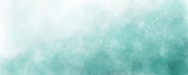 Obraz blue green sky watercolor background with clouds texture - fototapety do salonu