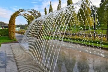 Beautiful cascade fountain in new Fentezi-Park