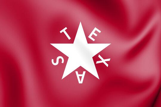 3D The Zavala Flag (Texas), USA. 3D Illustration.