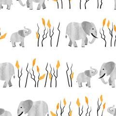 Modèle africain sans couture avec éléphant mignon. Illustration aquarelle vectorielle.