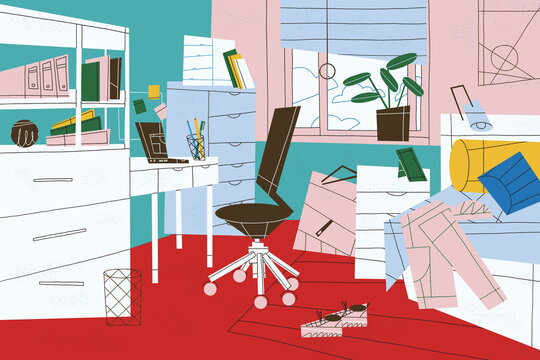 Home office station for workday and study. Work at home, telecommuting and online communication concept illustration.
