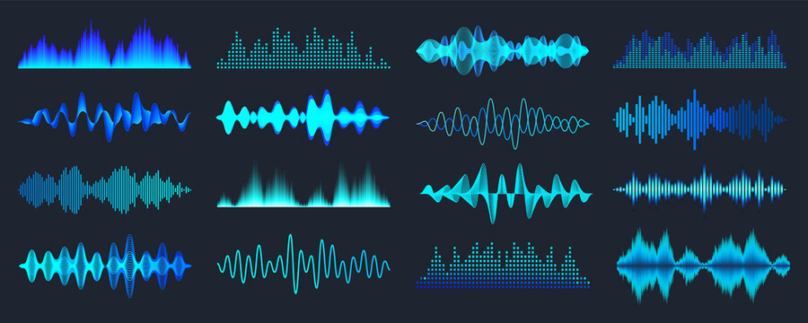 Blue colorful sound waves collection. Analog and digital audio signal. Music equalizer. Interference voice recording. High frequency radio wave. Vector illustration.