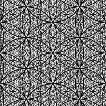 Deep Flower of Life Pattern - Intense Sacred Geometry Pattern Vector AI - 4 Layers of Recursion