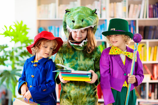 Kids in book character costume. School party.