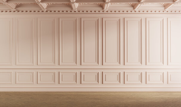 Classic empty room with boiserie on the wall. Pink colored. 3d illustration