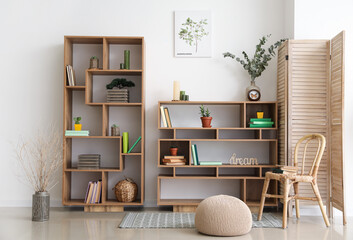 Fototapeta Interior of modern room with shelf units obraz