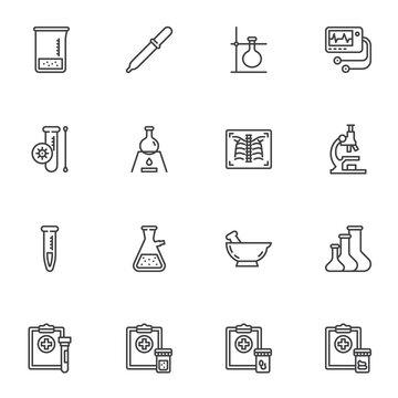 Medical diagnosis line icons set