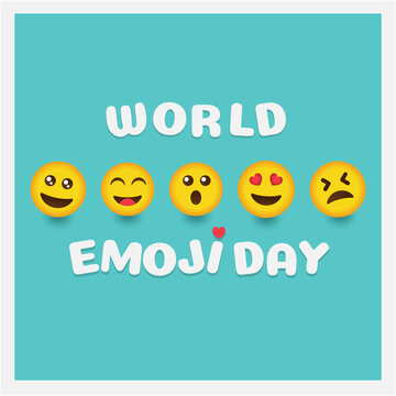World emoji day greeting card and background template. Hand drawn. Flat design. Vector illustration.