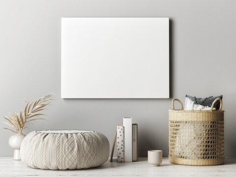 Empty poster on the gray wall, home decoration, 3d render, 3d illustration.