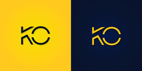Fototapeta Minimalist Abstract Initial letter KO logo. This logo incorporates abstract letters in a creative way. It will be suitable for which company or brand name starts those initial. obraz