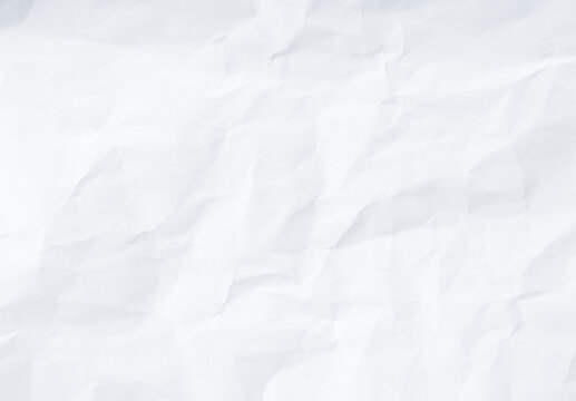 Flat crumpled white paper texture background