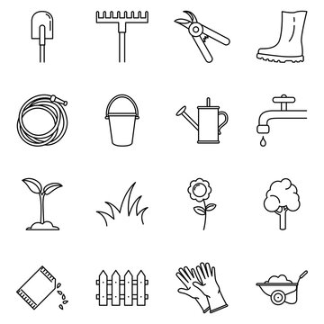 Vector Set of Garden Icons. Gardening Tools and Plants