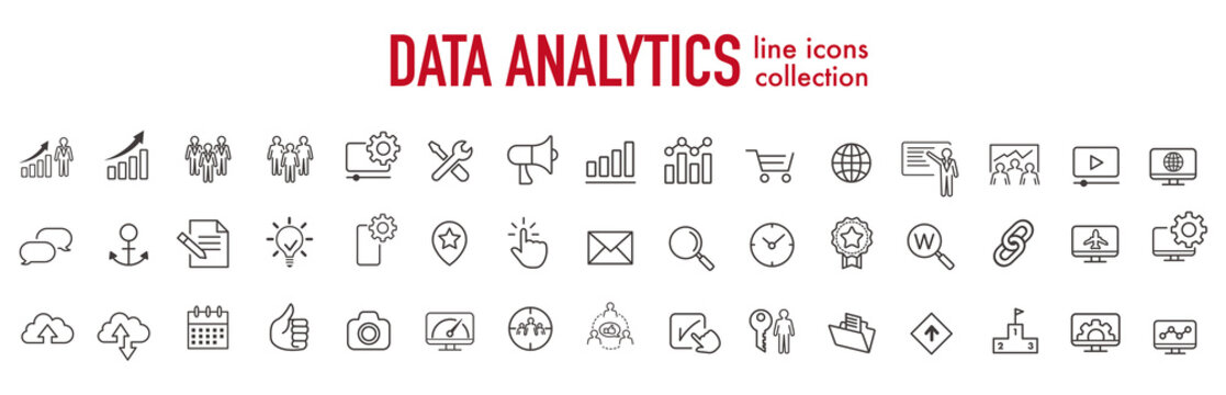 illustration of analysis statistics line icons collection vector