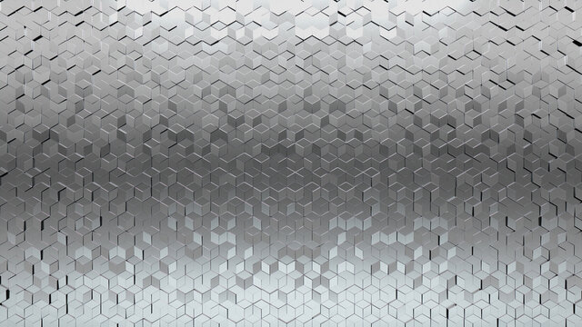 Luxurious, Diamond shaped Wall background with tiles. Silver, tile Wallpaper with Polished, 3D blocks. 3D Render