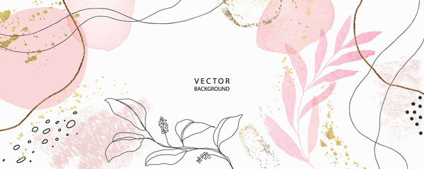 minimal background in pink flowers and tropical summer leaf with golden metallic texture gallery wall art vector  - fototapety na wymiar