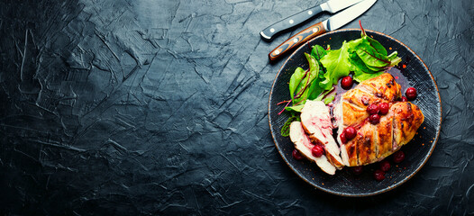 Fototapeta Grilled chicken fillet with cherry syrup,space for text obraz
