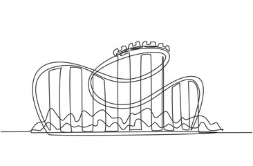 Single continuous line drawing of a roller coaster in amusement park with a track high into the sky. The passenger screamed while moving at high speed. One line draw graphic design vector illustration