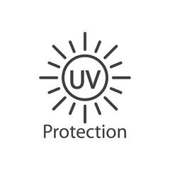 Obraz Concepto vacaciones de verano. Crema solar. Logotipo con texto UV Protection en sol con lineas en color gris - fototapety do salonu