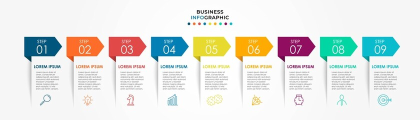 Obraz Vector Infographic design business template with icons and 9 options or steps. Can be used for process diagram, presentations, workflow layout, banner, flow chart, info graph - fototapety do salonu