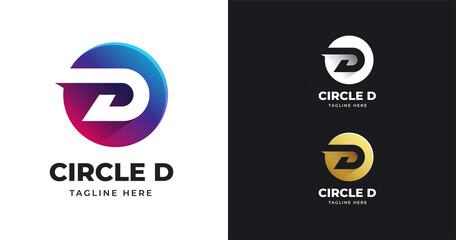 Fototapeta Letter D logo vector illustration with circle shape design obraz