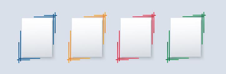 Obraz set of modern square isolated color frame template background vector illustration EPS10 - fototapety do salonu