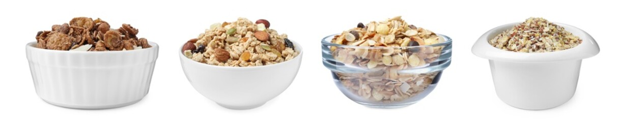 Obraz Set with different delicious granola in bowls on white background. Banner design - fototapety do salonu