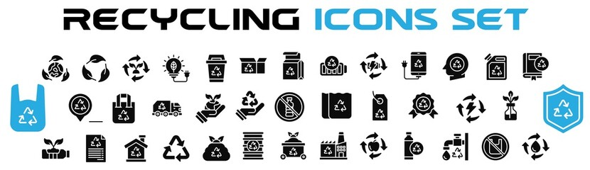 Recycle icon set, recycling icons set.