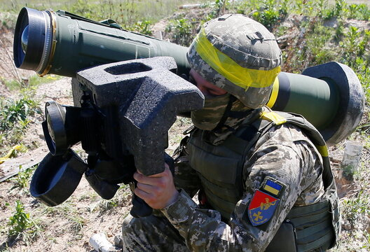 A soldier holds a Javelin missile system during a military exercise in the training centre of Ukrainian Ground Forces near Rivne