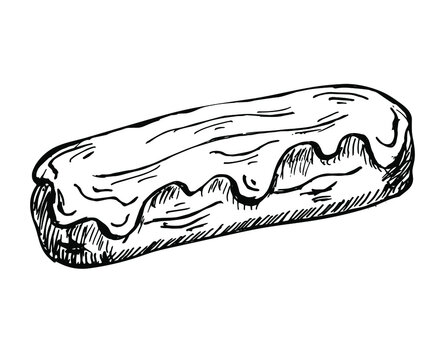 eclair hand drawn sketch isolated on white. vector illustration of sweet glazed french eclair. traditional cream dessert.  For menu, cafes, recipes, bakery, confectionery labels