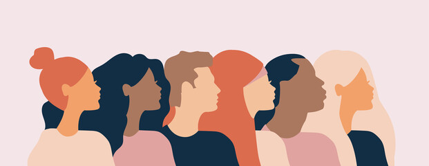Fototapeta cross cultural, racial equality, multi ethical, diversity people, woman man power, empowerment, tolerance, discrimination concept. Flat vector illustration. obraz