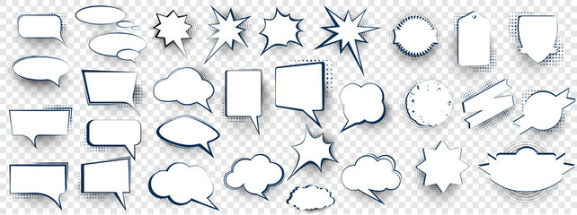 Set of speech bubbles. Blank retro empty comic bubbles. Comic book graphic art speech clouds, thinking bubbles and conversation text elements illustration set.   Blank cartoon discussion illustration - fototapety na wymiar