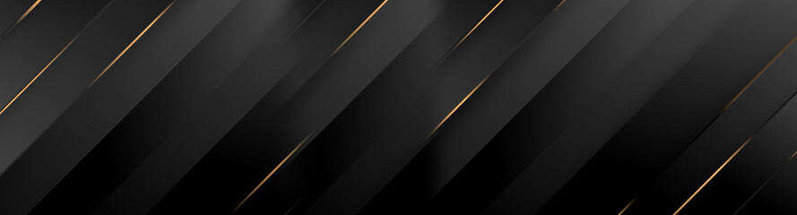 Obraz Black luxury background with golden diagonal stripes. Dark elegant dynamic abstract BG. Trendy geometric grey gradient. Universal minimal 3d sale modern backdrop. Amazing shine deluxe lines  template - fototapety do salonu