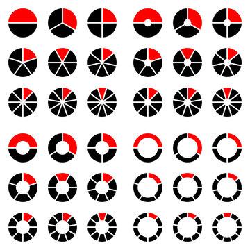 Quadrat Set Tortendiagramme Schwarz Und Rot