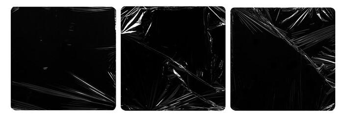 Fototapeta collection set of plastic wrap texture for overlay. wrinkled stretched plastic effect. transparent plastic wrap on black background. obraz