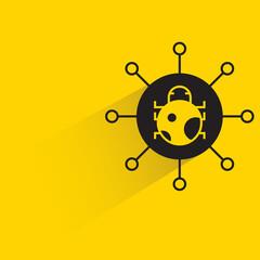 malware and bug on yellow background - fototapety na wymiar