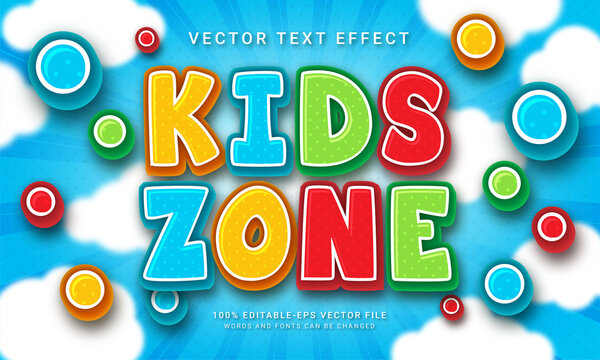 Kids zone 3d text style effect themed happy kid