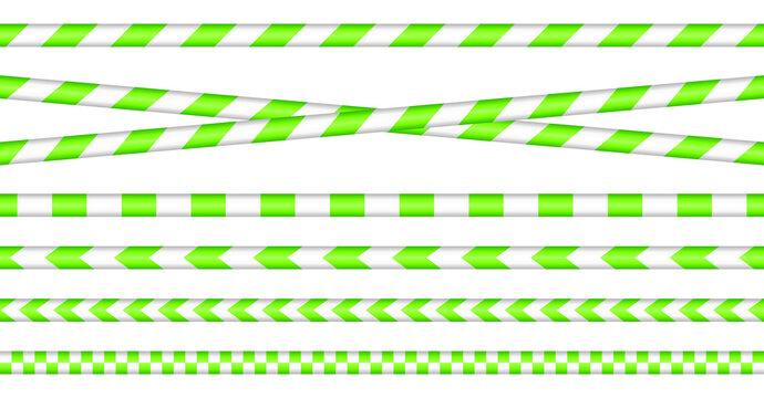 Set Absperrbänder Neongrün Und Weiß