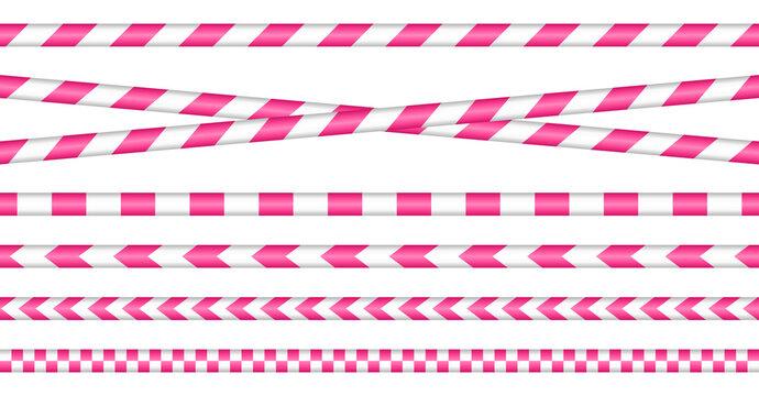 Set Absperrbänder Pink Und Weiß