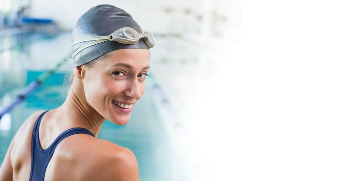 Composition of portrait of smiling caucasian female swimmer in swimming pool with copy space