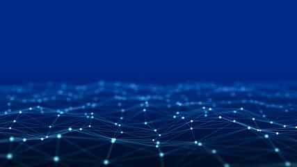 Obraz Network connection data structure. Information technology. Big data visualization. 3D rendering. - fototapety do salonu