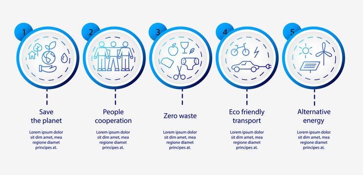 Zero waste infographic vector template. Presentation with 5 steps. Workflow process model with linear icons