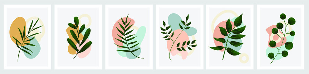 a bright poster with leaves and colored geometric objects. vector illustration